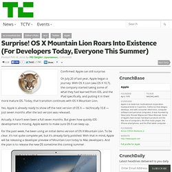 Surprise! OS X Mountain Lion Roars Into Existence (For Developers Today, Everyone This Summer)