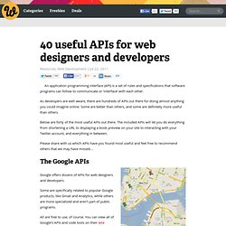 40 useful APIs for web designers and developers