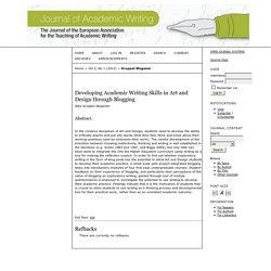 Developing Academic Writing Skills in Art and Design through Blogging
