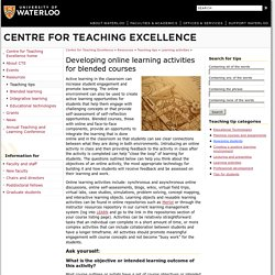 Developing online learning activities for blended courses