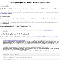 Developing Speech Enabled Android Applications
