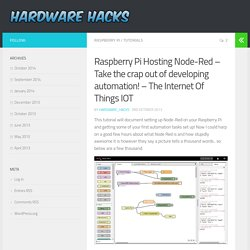 Raspberry Pi Hosting Node-Red – Take the crap out of developing automation! – The Internet Of Things IOT - Hardware_Hacks