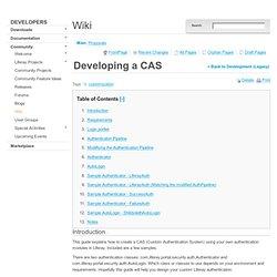 Developing a CAS