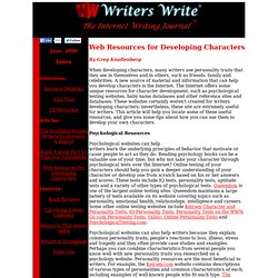 Web Resources for Developing Characters