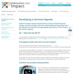 Developing a Common Agenda