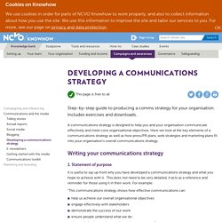 Developing a communications strategy — NCVO Knowhow
