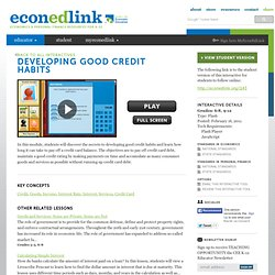 Developing Good Credit Habits