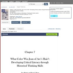 Chapter 7: What Color Was Joan of Arc's Hair?: Developing Critical Literacy through Historical Thinking Skills on JSTOR