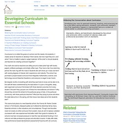 Developing Curriculum in Essential Schools