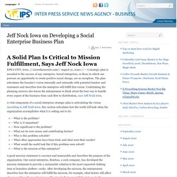 Jeff Nock Iowa on Developing a Social Enterprise Business Plan