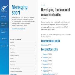 Developing fundamental movement skills » Managing sport » Sport New Zealand