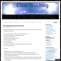 Developing Independent Learners | Class Teaching
