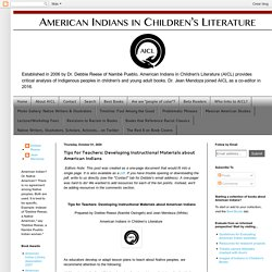 Tips for Teachers: Developing Instructional Materials about American Indians