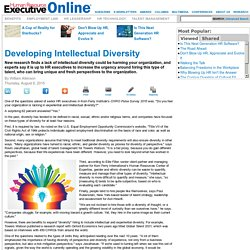 Developing Intellectual Diversity