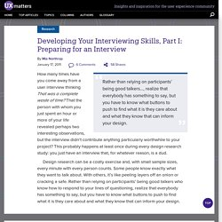 Developing Your Interviewing Skills, Part I: Preparing for an Interview