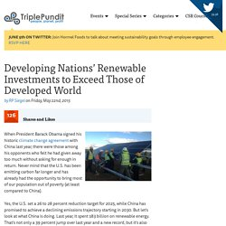 Developing Nations' Renewable Investments to Exceed Those of Developed World