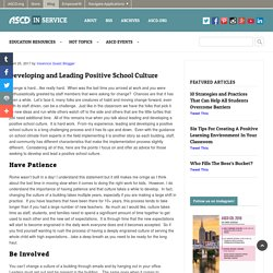 Developing and Leading Positive School Culture