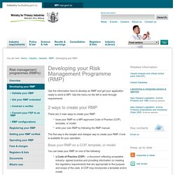 Developing your Risk Management Programme (RMP), MPI, food