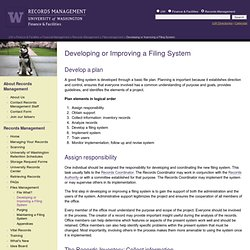 Univ. Washington - Filing System