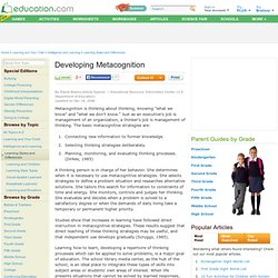 Developing Metacognition