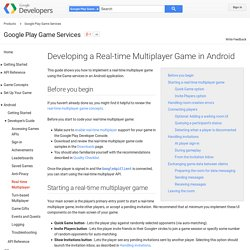 Developing a Real-time Multiplayer Game in Android - Google Play Game Services