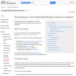 Developing a Turn-based Multiplayer Game in Android - Google Play Game Services