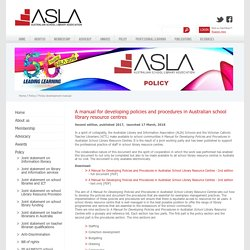 A manual for developing policies and procedures in Australian School Library Resource Centres