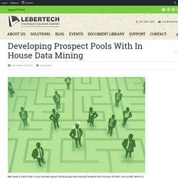 Developing Prospect Pools With In House Data Mining