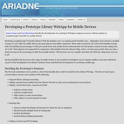Developing a Prototype Library WebApp for Mobile Devices