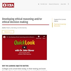 Developing ethical reasoning and/or ethical decision making