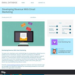 Developing Revenue With Email Marketing