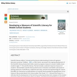 Developing a Measure of Scientific Literacy for Middle School Students - FIVES - 2014 - Science Education