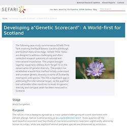 "Developing a""Genetic Scorecard"": A World-first for Scotland"