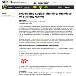 Developing Logical Thinking: the Place of Strategy Games