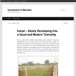 Karjat – Slowly Developing Into a Good and Modern Township