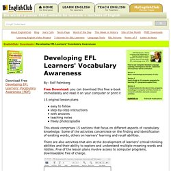 Free download - Developing EFL Learners' Vocabulary Awareness