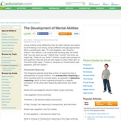 The Development of Mental Abilities