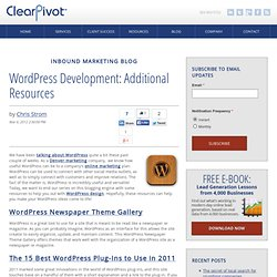 WordPress: Additional Resources