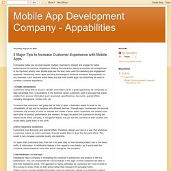 Mobile App Development Company - Appabilities: 4 Major Tips to Increase Customer Experience with Mobile Apps