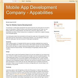 Mobile App Development Company - Appabilities: Tips for Mobile Game Development