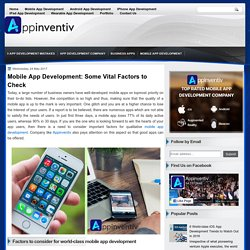 Mobile App Development: Some Vital Factors to Check - AppInventiv - Top Rated App Development Company