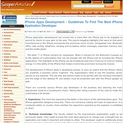 iPhone Apps Development - Guidelines To Find The Best iPhone Application Developer