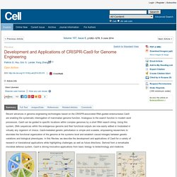 Development and Applications of CRISPR-Cas9 for Genome Engineering