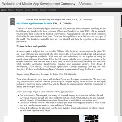 Website and Mobile App Development Company - AResourcePool: How to hire iPhone app developer for India, USA, UK, Globally