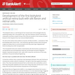 Development of the first biohybrid artificial retina built with silk fibroin and retinal cells.