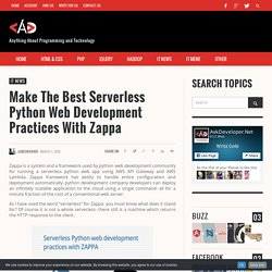 Make the best serverless Python web development practices with Zappa