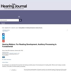 Hearing Matters: For Reading Development, Auditory Processi... : The Hearing Journal