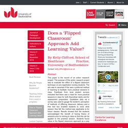 Does a 'Flipped Classroom' Approach Add Learning Value? - Journal of Pedagogic Development