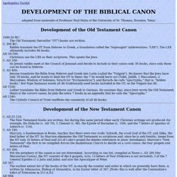 Development of the Biblical Canon