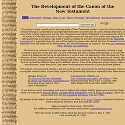 The Development of the Canon of the New Testament - Home